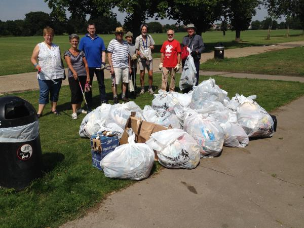 Dozens of bags filled with litter were collected