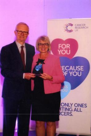 Eileen Poole with Cancer Research UK chairman Michael Pagnell