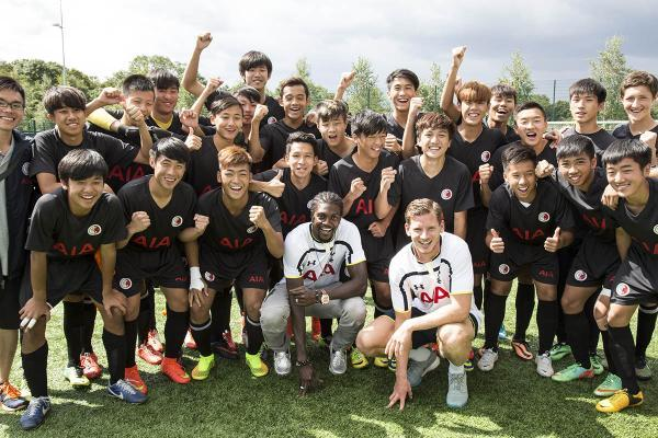Emmanuel Adebayor and Jan Vertonghen welcome Hong Kong youth team to Enfield training ground
