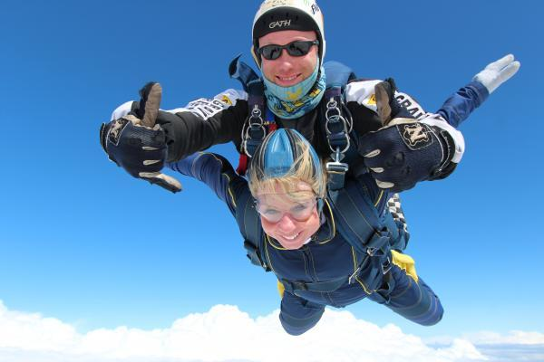 Lisa MacKissack skydiving in the name of charity