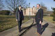 Cllr Jason Charalambous and Enfield Southgate MP David Burrowes at the Trent Park mansion after launching the 'Save Trent Park' campaign