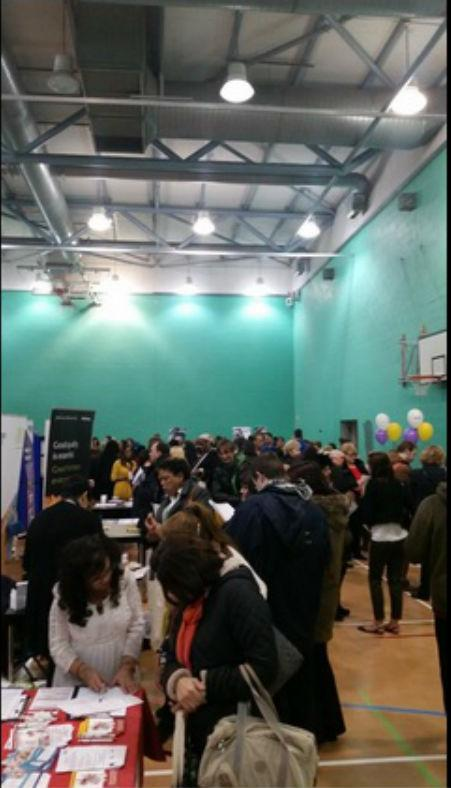 Picture tweeted by Daivd Burrowes MP of the packed Southbury Leisure centre hall for the jobs fair