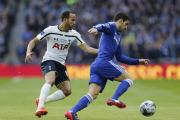 Andros Townsend in action for Tottenham Hotspur against Chelsea in the Capital One Cup final