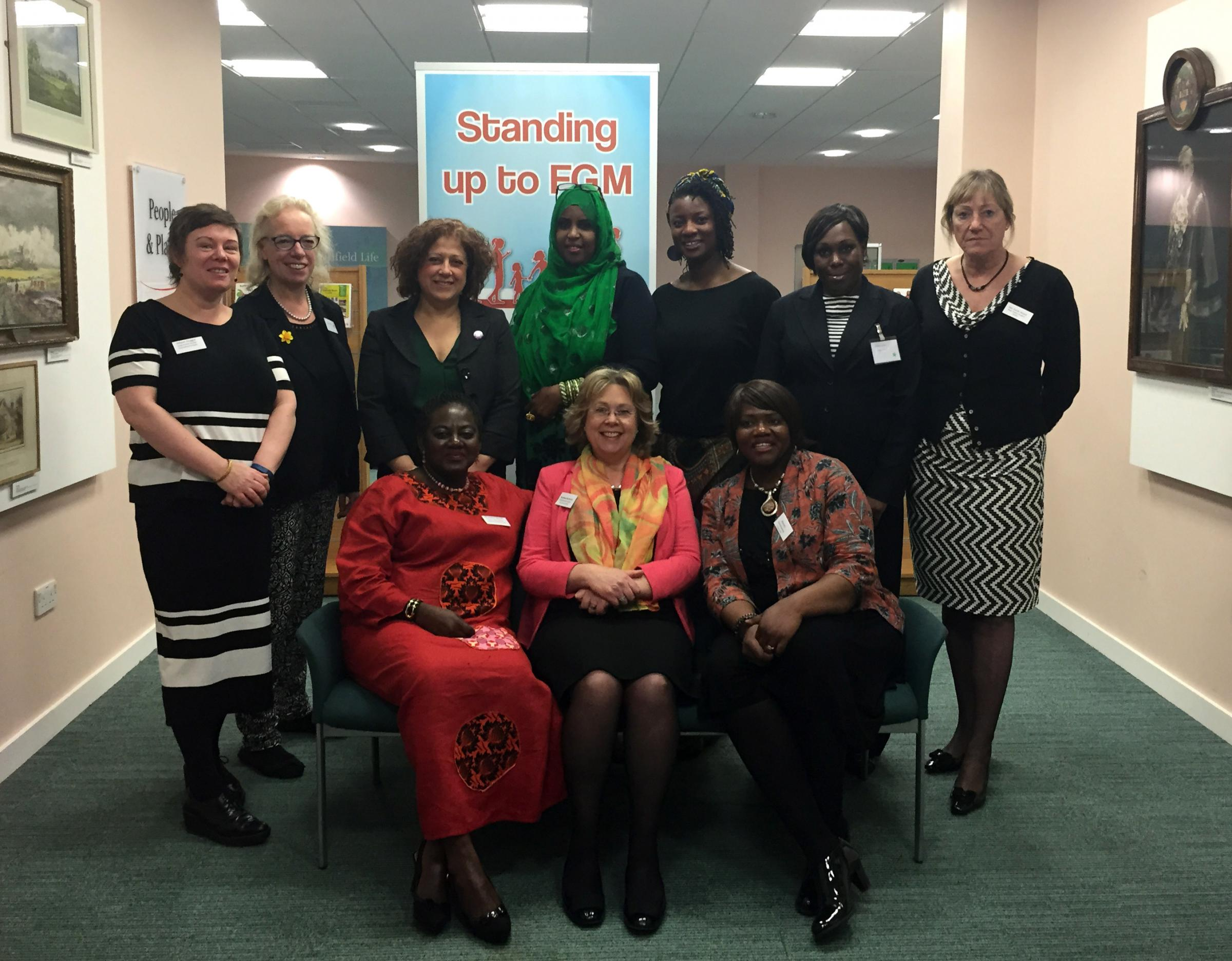 Baroness Northover with other speakers at the FGM conference held at the Dugdale Centre in Enfield Town