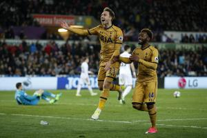 A remarkable victory completed: Christian Eriksen celebrates scoring Tottenham's third goal. Picture: Action Images