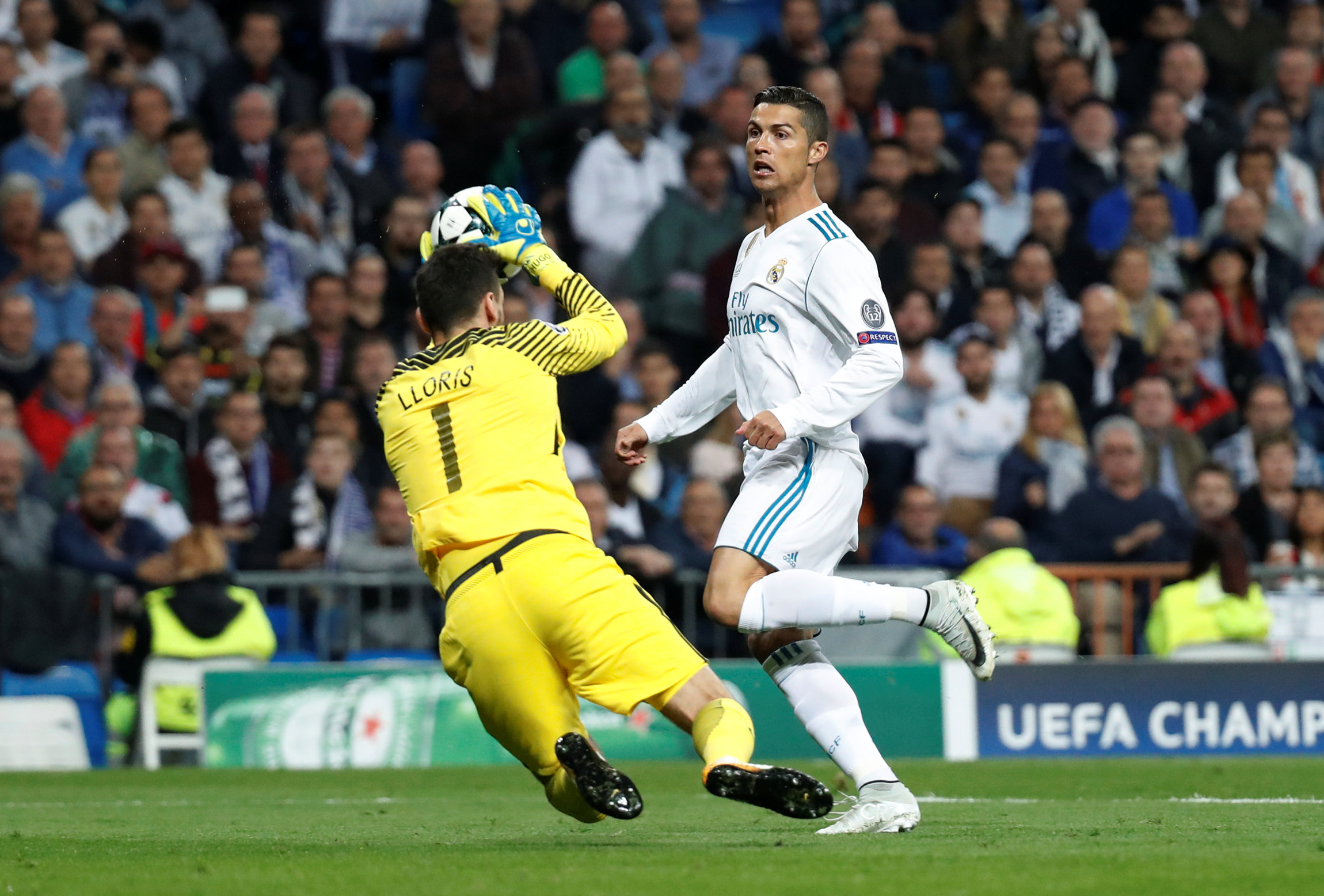 Cristiano Ronaldo watches Hugo Lloris make a save. Picture: Action Images