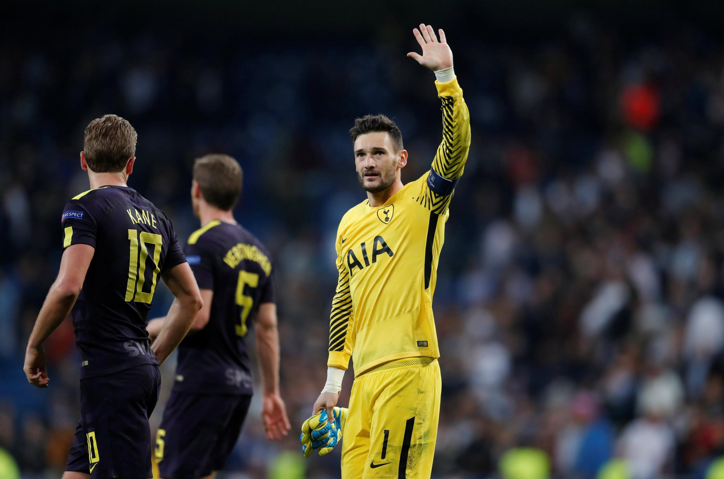 Hugo Lloris waves to the Spurs fans following Tuesday's draw at Real Madrid. Picture: Action Images
