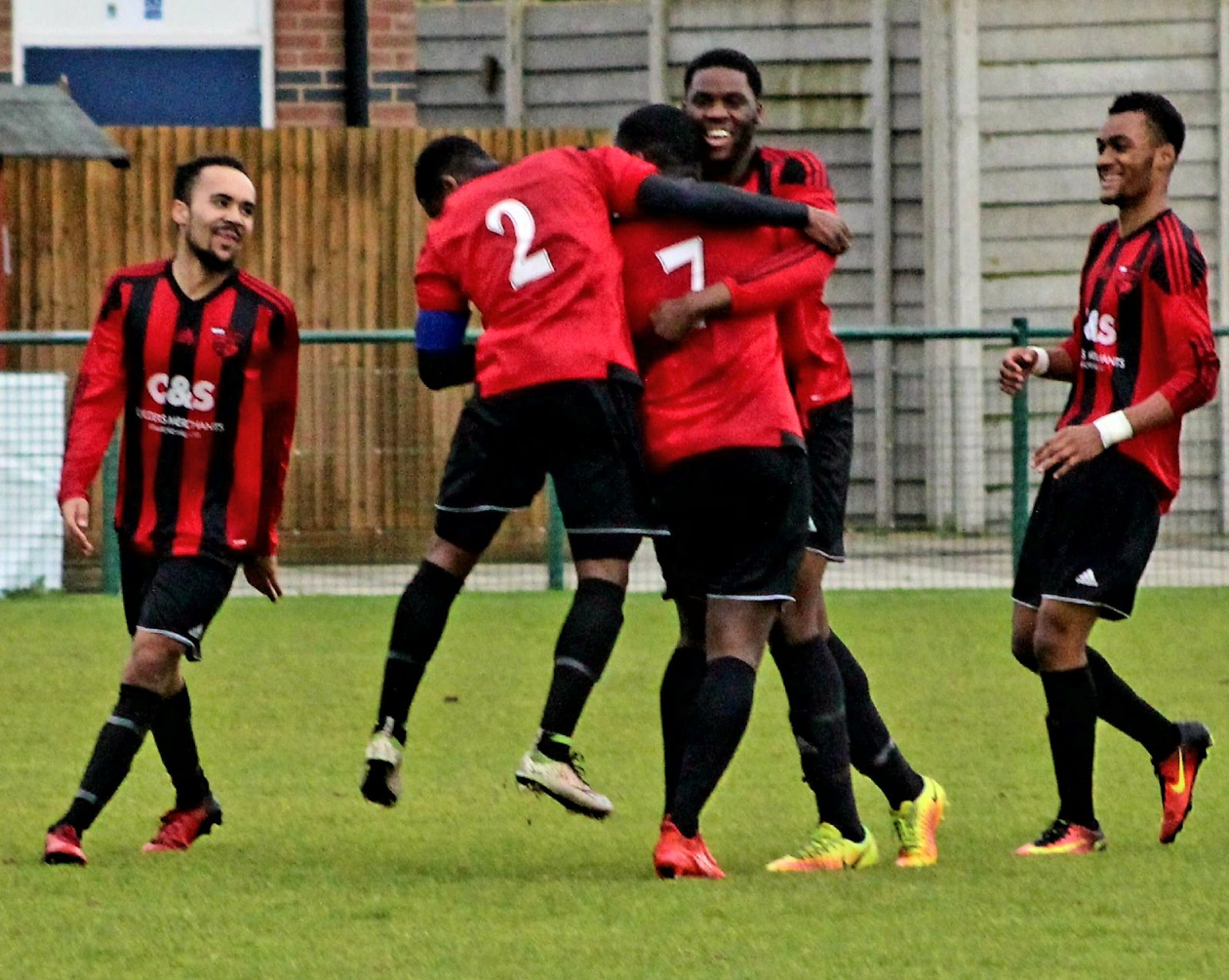 Enfield celebrate Sivi Bao's (number 7) spectacular goal in Saturday's emphatic 6-1 victory at St Neots Town Reserves.