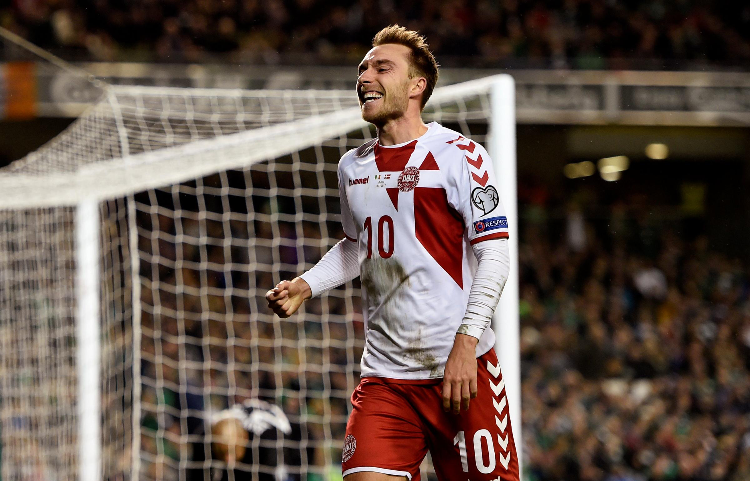 Danish dynamite: Christian Eriksen celebrates his hat-trick goal. Picture: Action Images