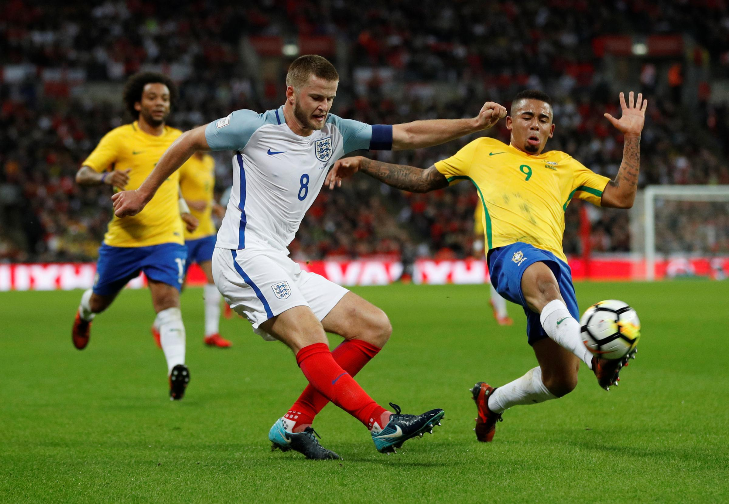 Eric Dier is challenged by Gabriel Jesus during England's goalless draw with Brazil. Picture: Action Images