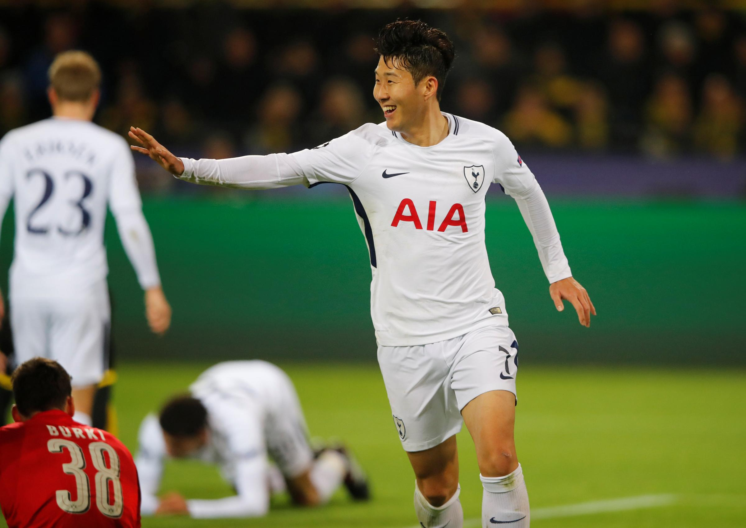 Son Heung-min celebrates his winning goal. Picture: Action Images