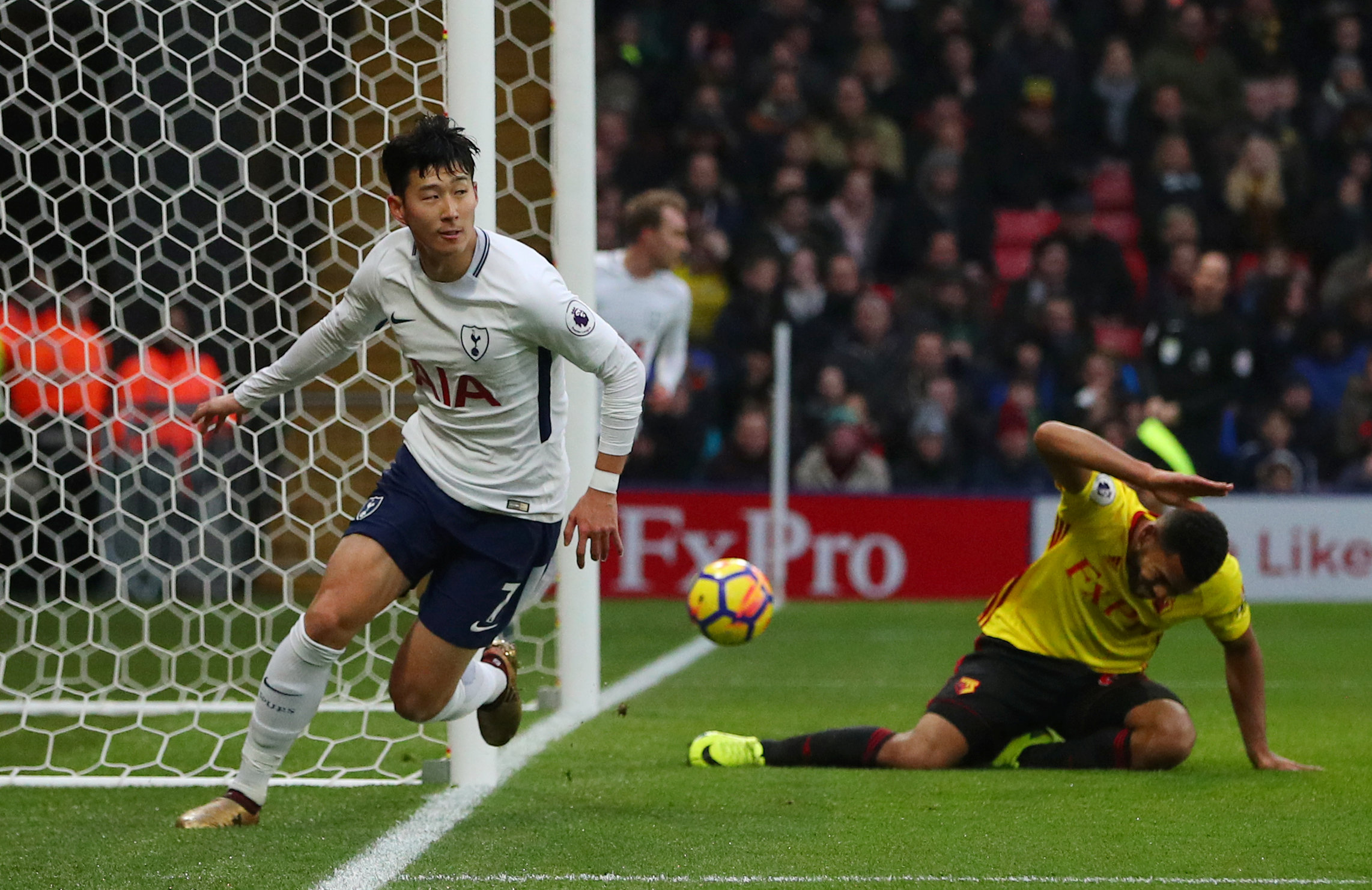 Son Heung-min turns in Tottenham's equaliser. Picture: Action Images