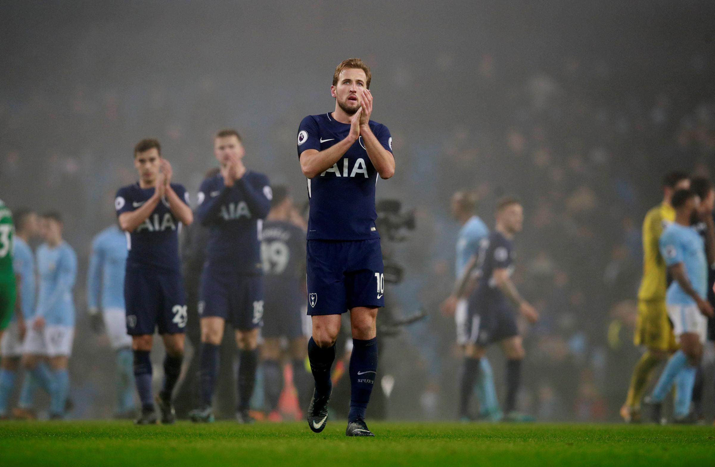 A disappointed Harry Kane applauds the Spurs fans. Picture: Action Images
