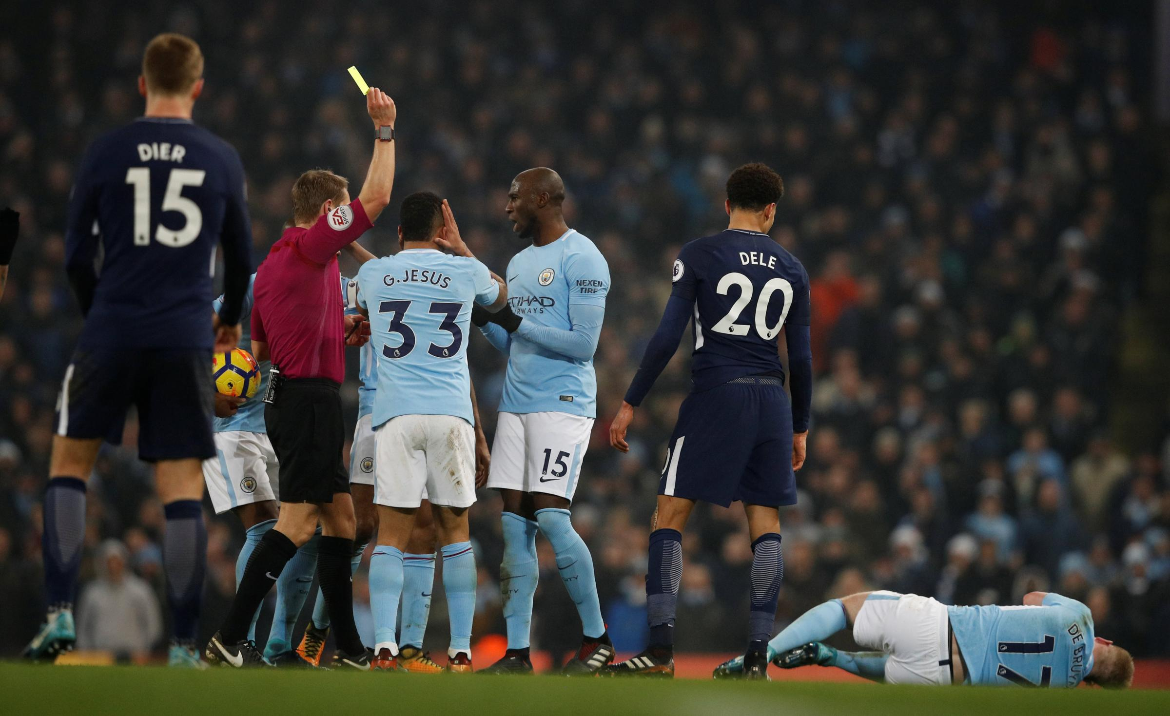 Dele Alli escaped with a yellow card for his challenge on Kevin De Bruyne. Picture: Action Images