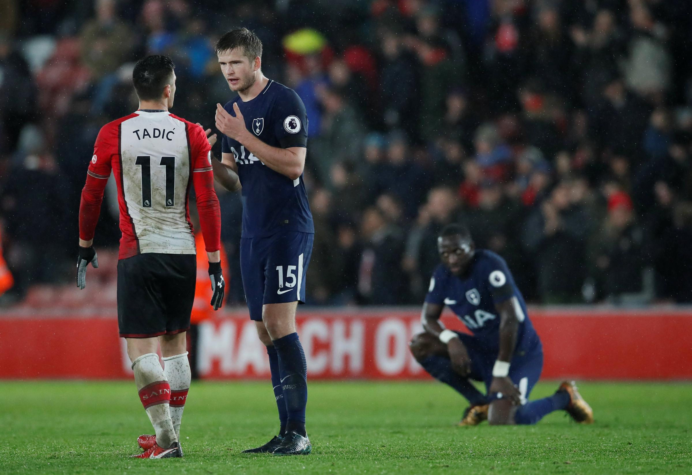 Eric Dier with Southampton's Dusan Tadic after yesterday's 1-1 draw. Picture: Action Images