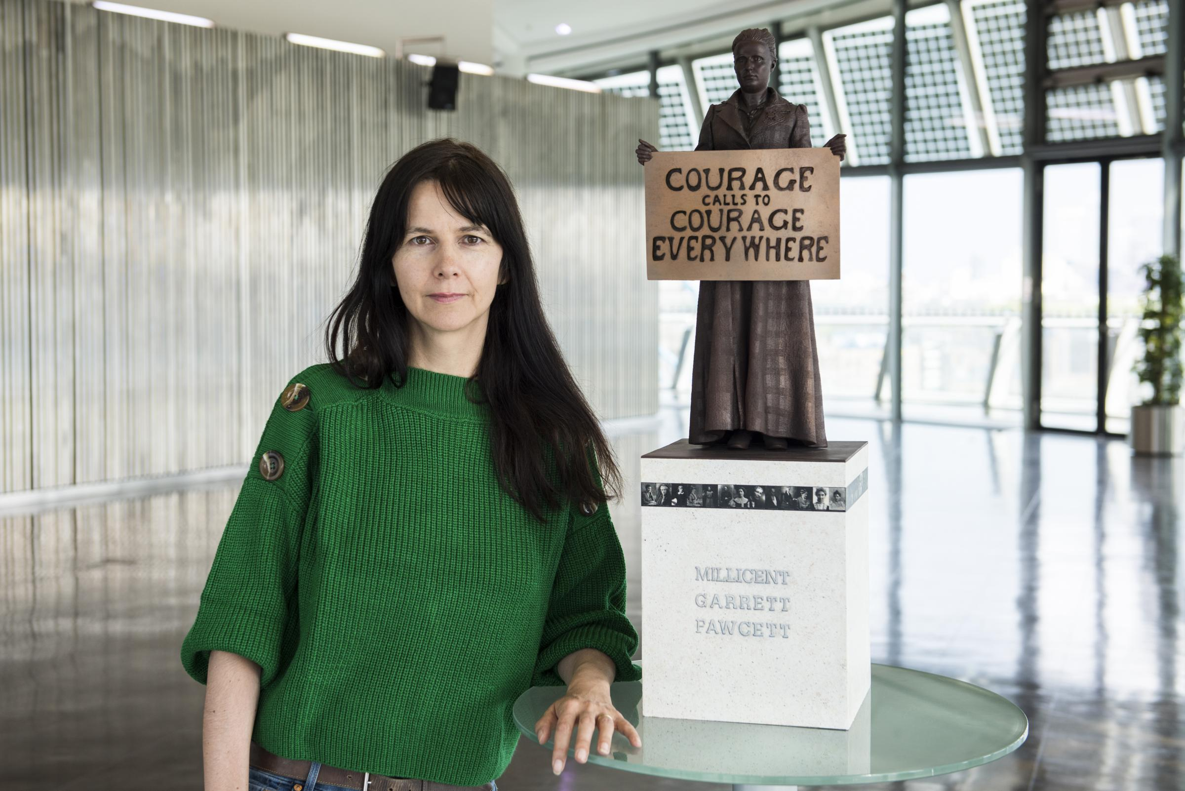 Artist Gillian Wearing with a maquette of the statue