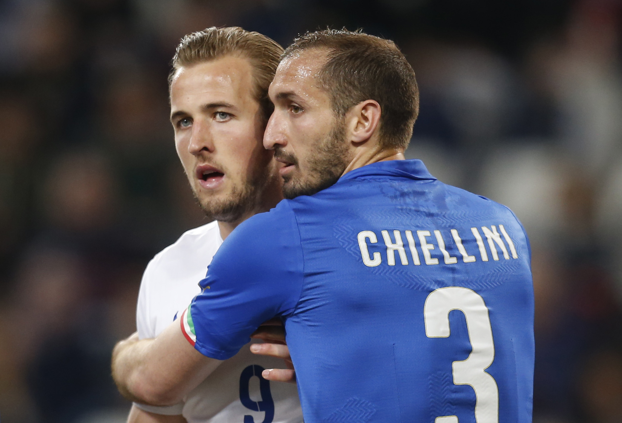 Harry Kane and Giorgio Chiellini are set to clash again in Turin tonight. Picture: Action Images