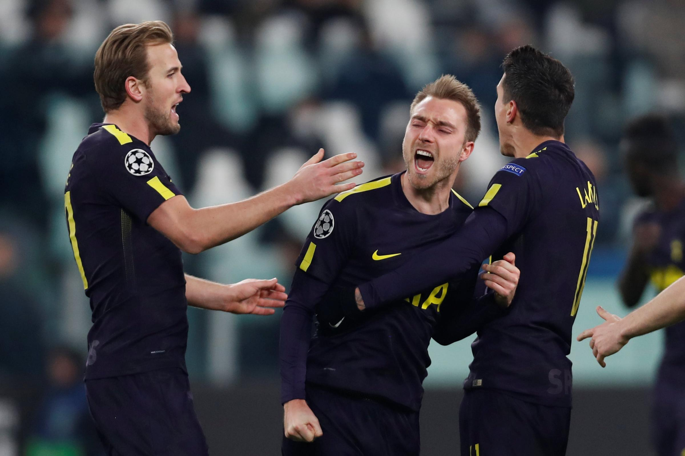 Christian Eriksen celebrates his equaliser. Picture: Action Images