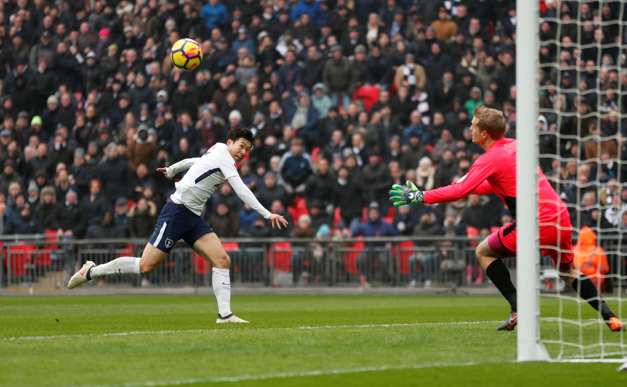 Son Heung-min scores his second goal. Picture: Action Images