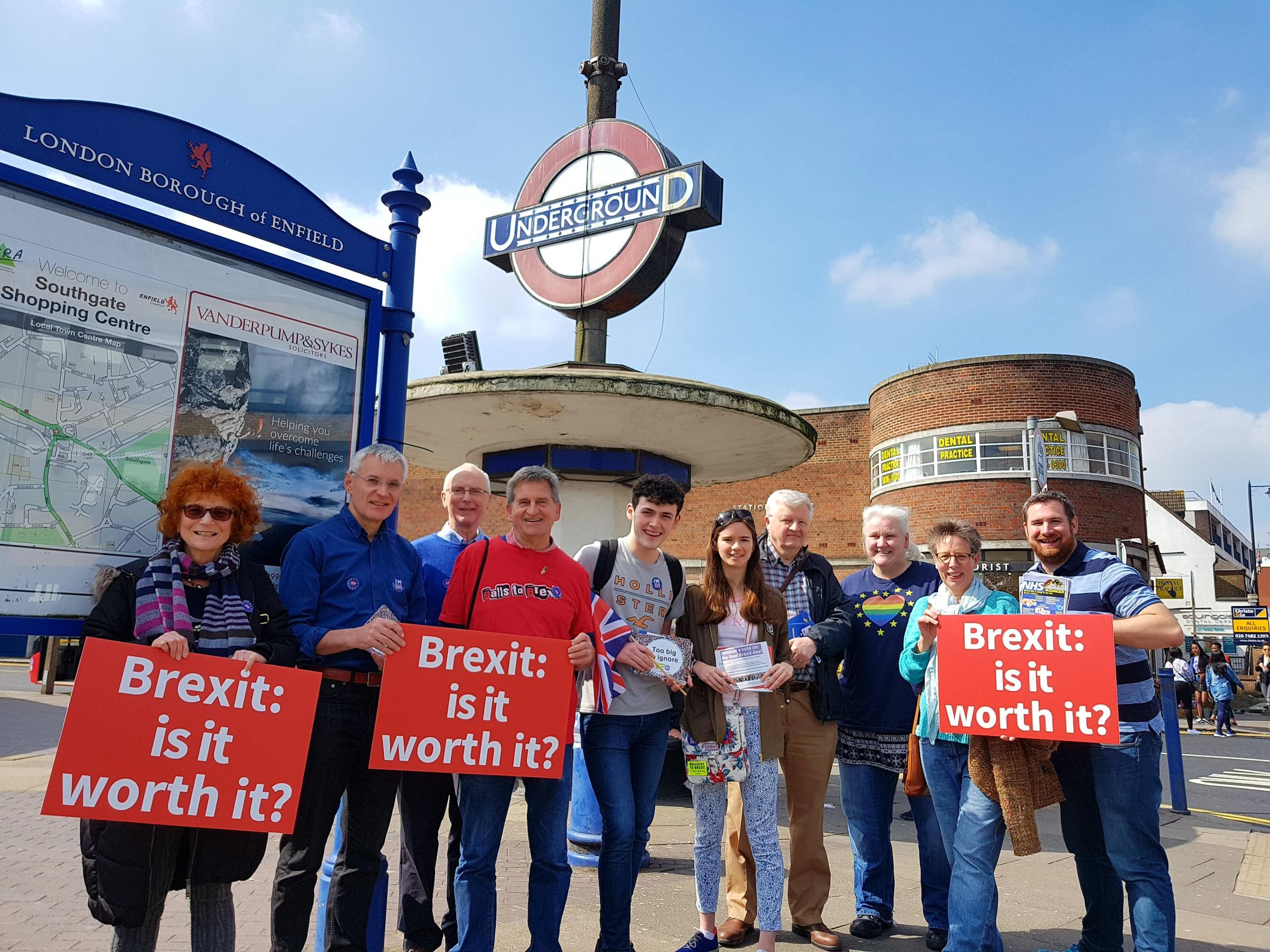 Enfield for Europe campaigners on the streets of Southgate