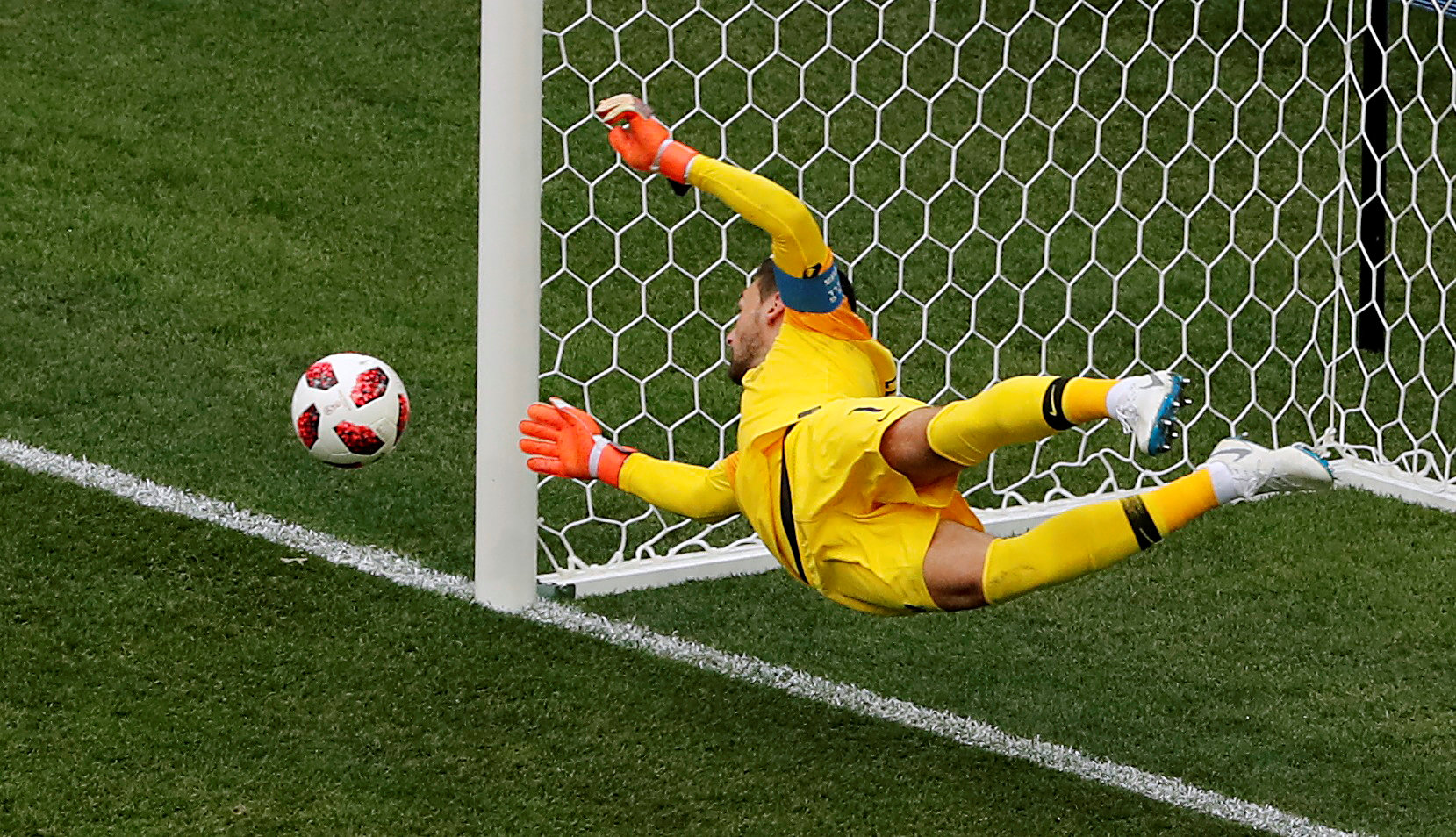 Hugo Lloris produced a stunning save to deny Martin Caceres. Picture: Action Images