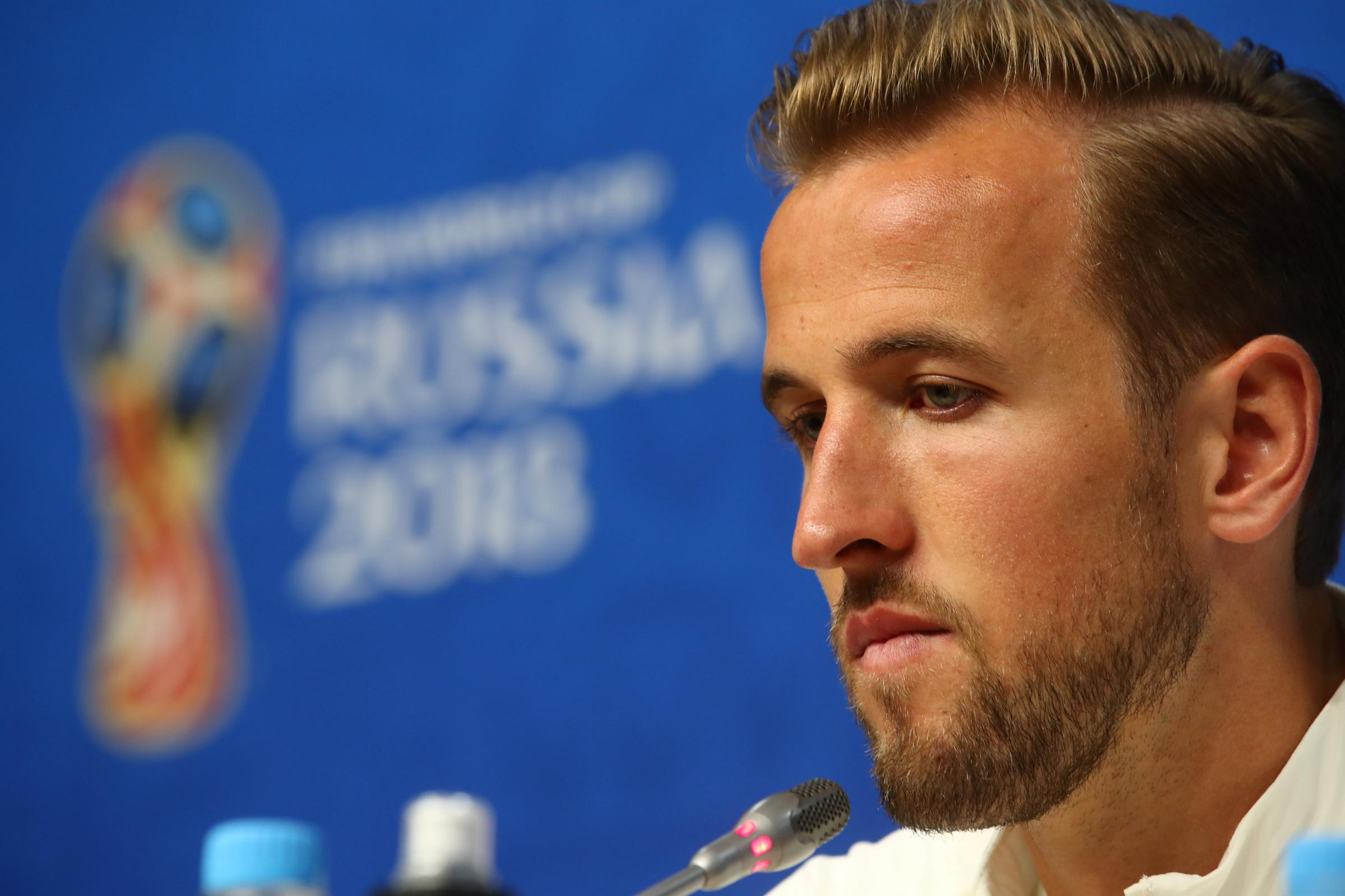 Captain Harry Kane facing the media today. Picture: Action Images