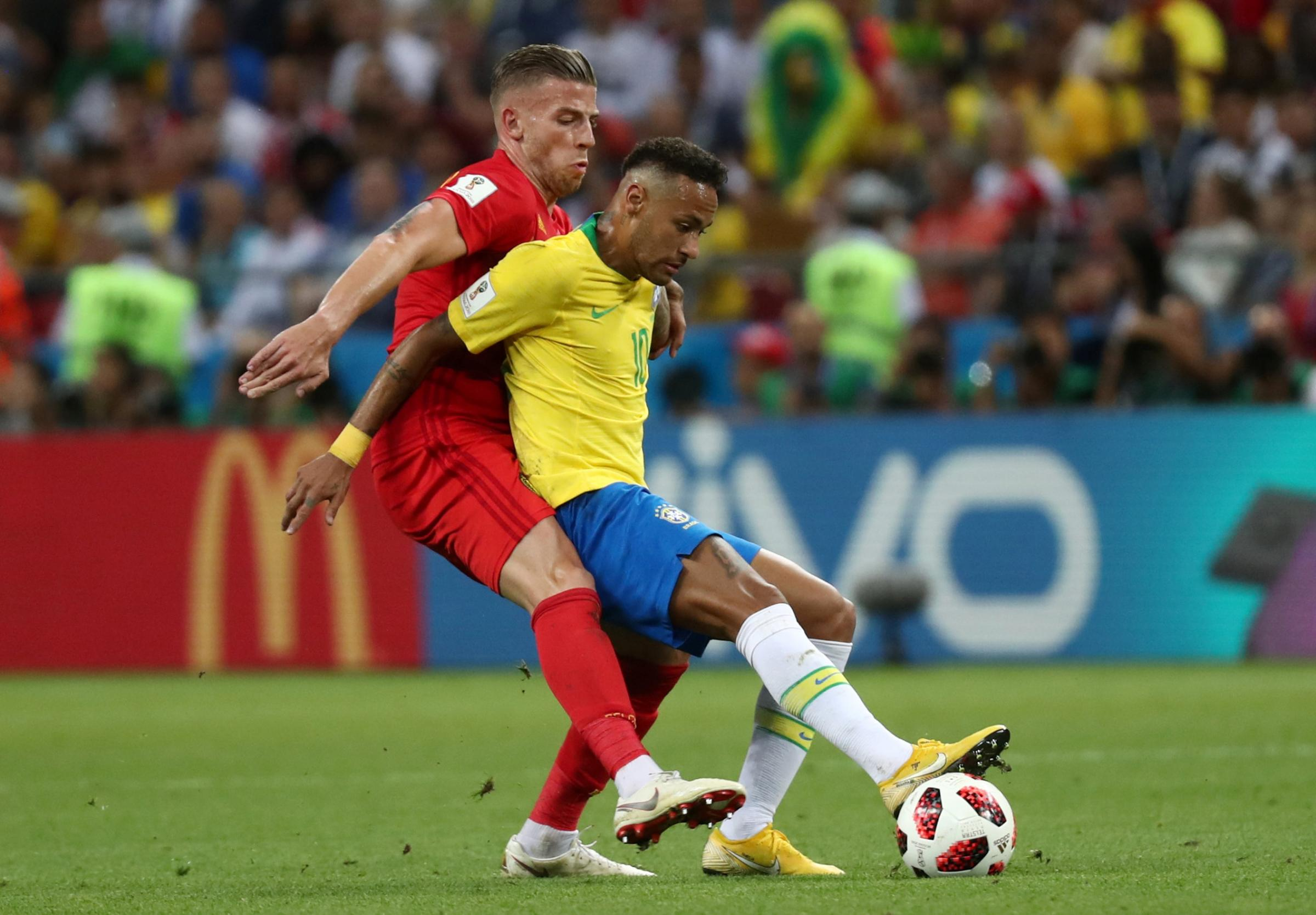 Toby Alderweireld challenges Neymar. Picture: Action Images