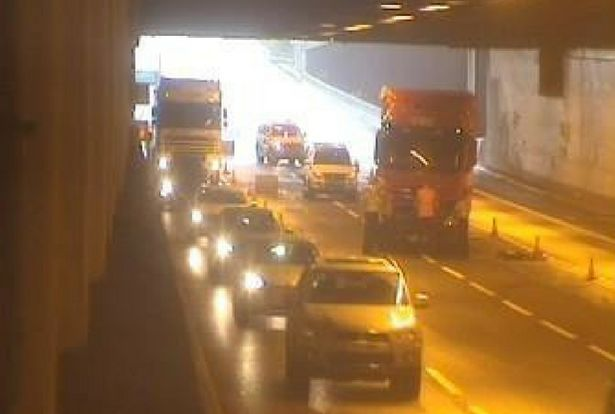 The crash closed two lanes. Image credit: Highways England