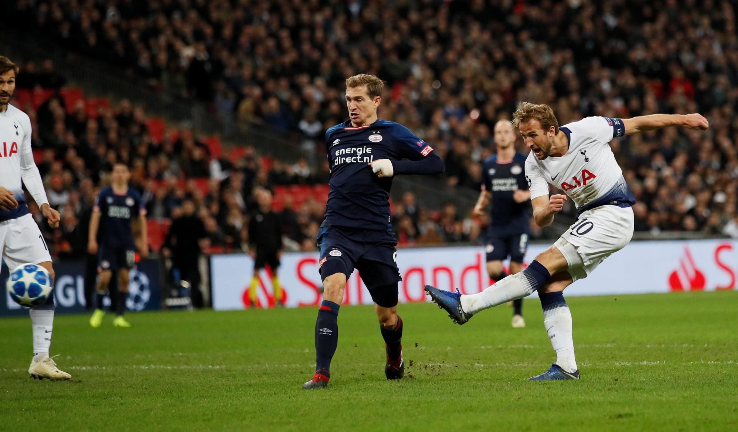 Harry Kane fires in his first goal last night. Picture: Action Images
