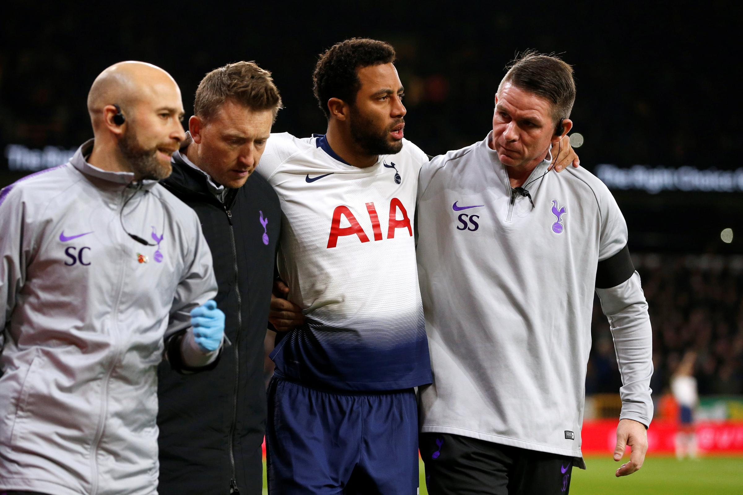 Mousa Dembele is helped off against Wolves. Picture: Action Images