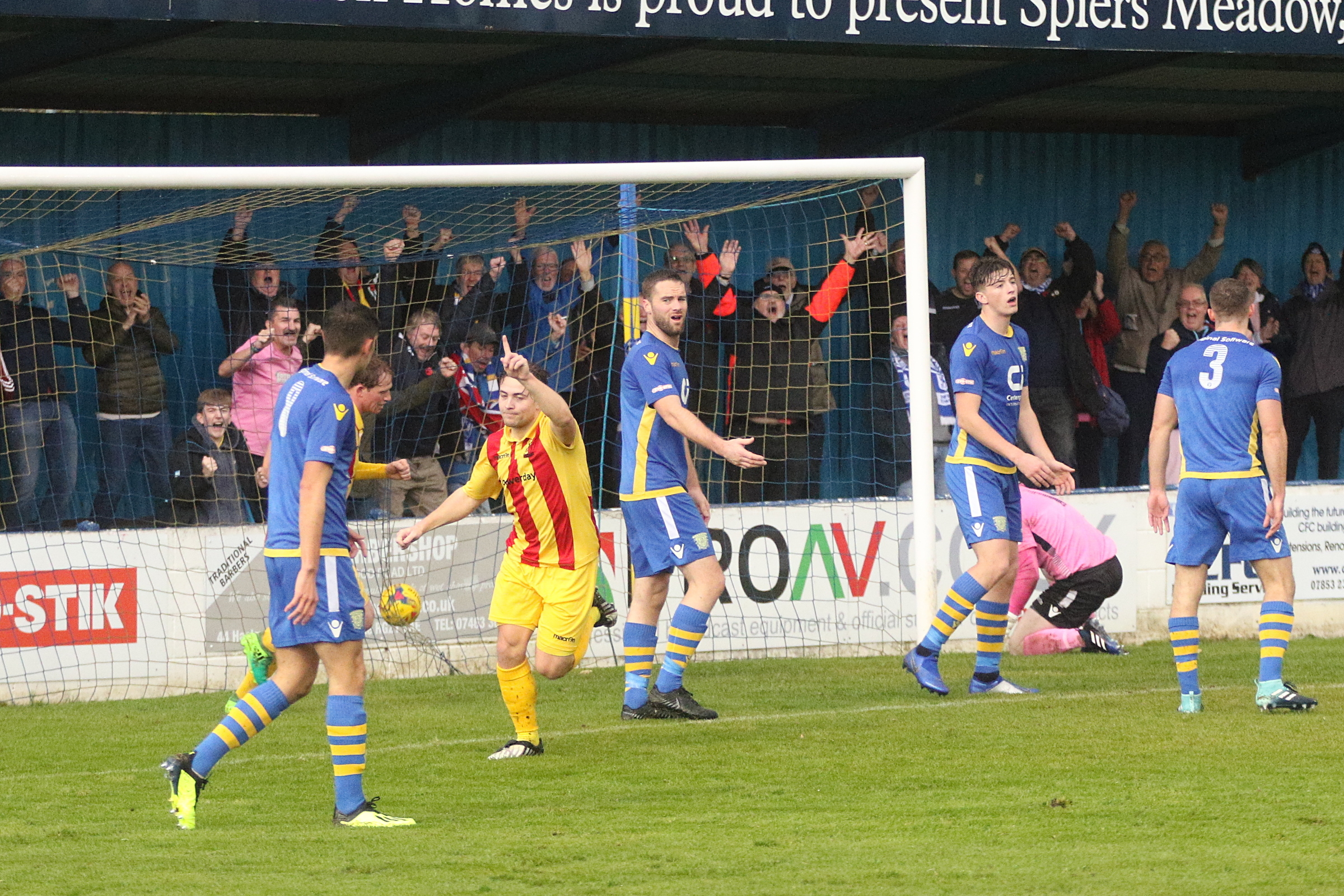 Lewis Taaffe celebrates heading Town in front, but Saturday's tie was to end in disappointment for the visitors. Picture: Phil Davison