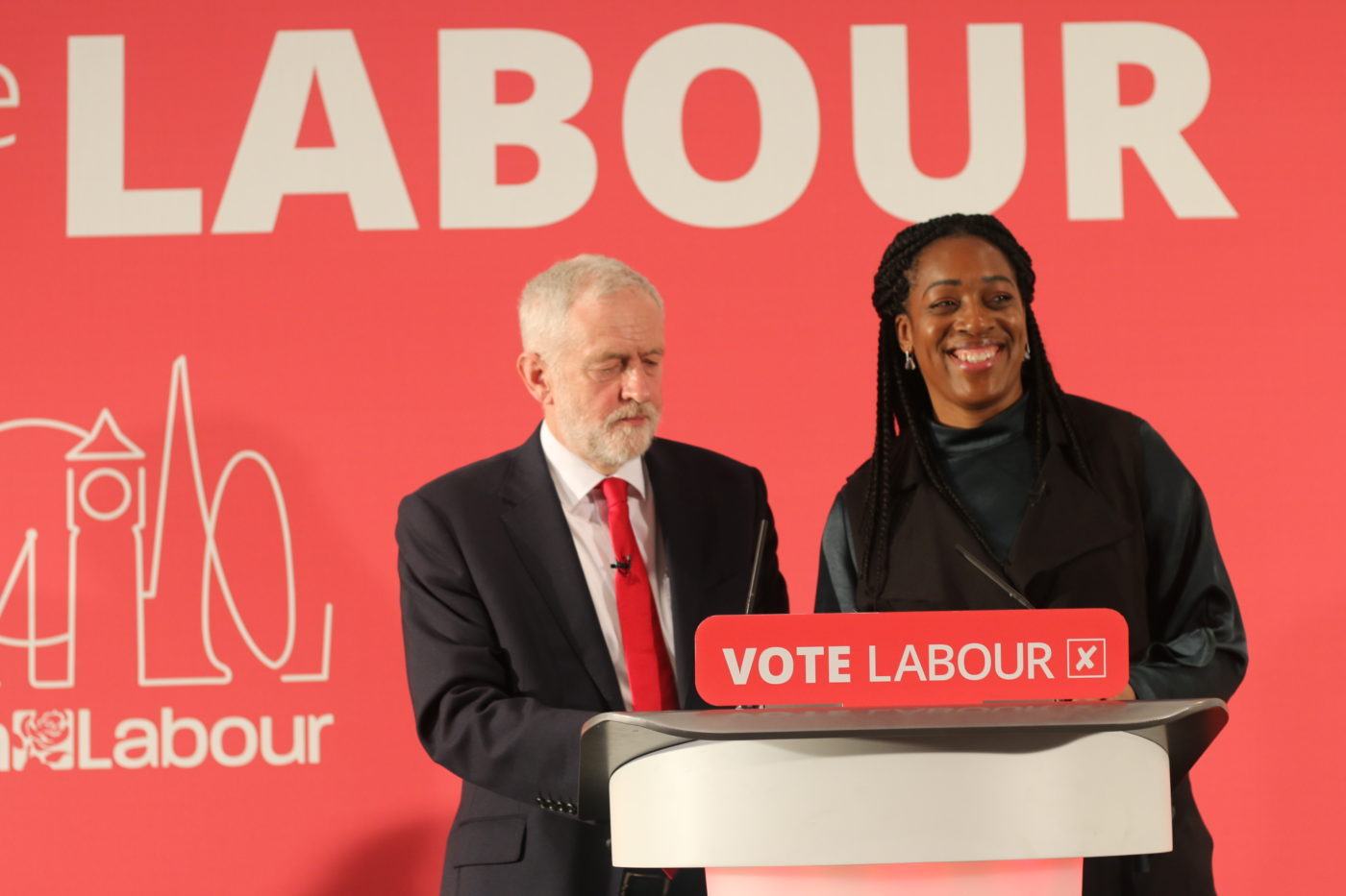 Kate Osamor standing next to Jeremy Corbyn, the Edmonton MP has now stood down as his Shadow Minister for Internation Development