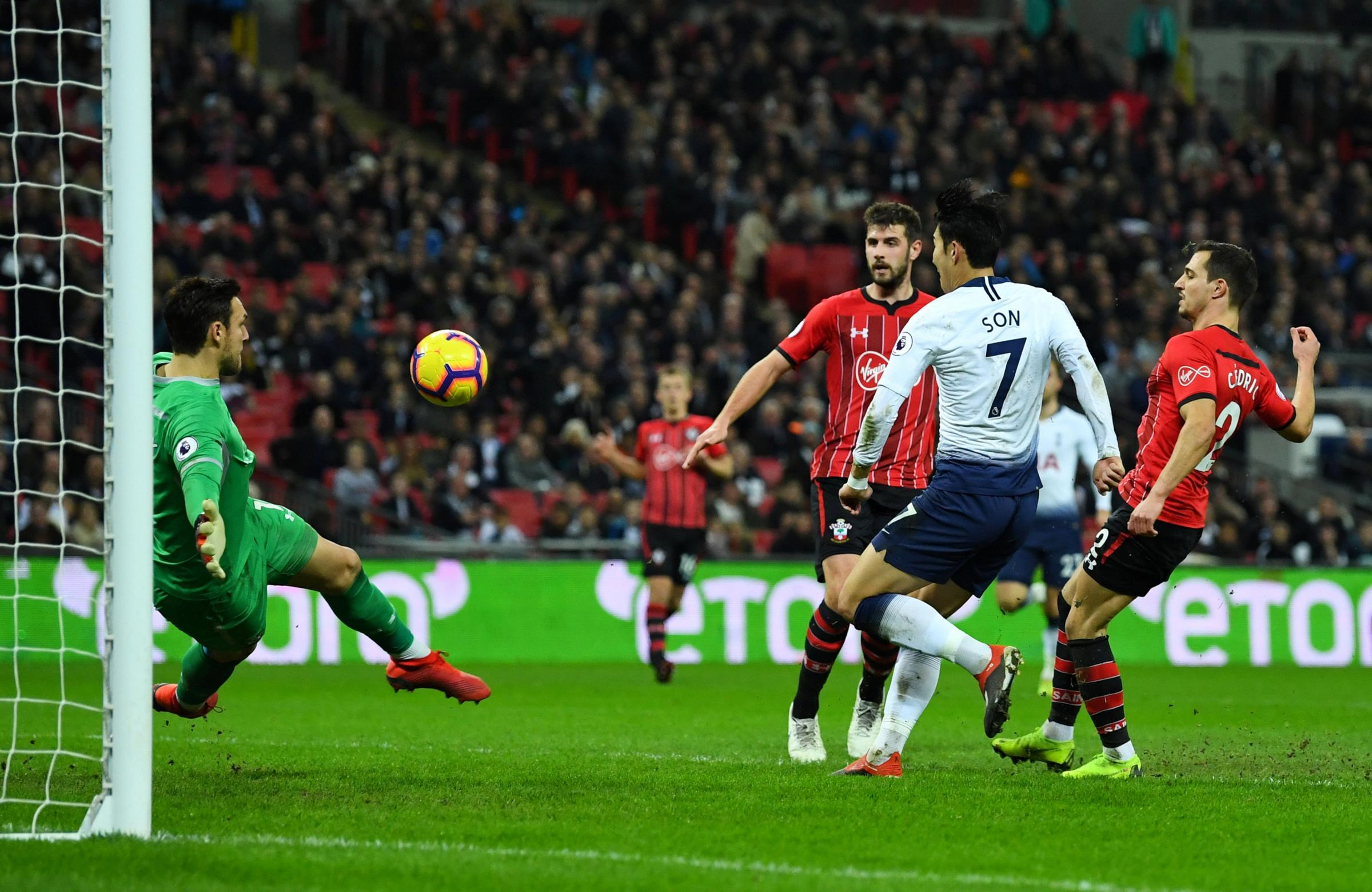 Victory sealed: Son Heung-min scores Tottenham's third goal. Picture: Action Images