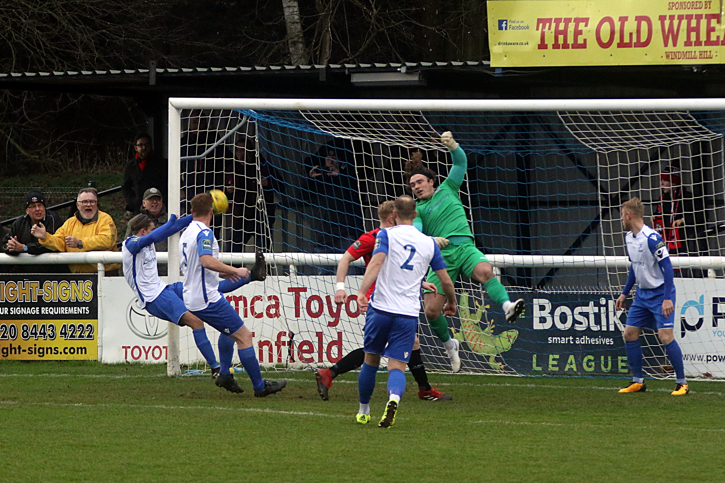 Sam Youngs produced this superb goalline clearance at the start of the game. Picture: Phil Davison