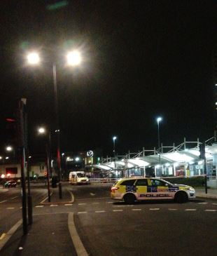 The scene at Edmonton bus station last night where cordons were in place. Picture credit: Twitter/@ModernDayJFK