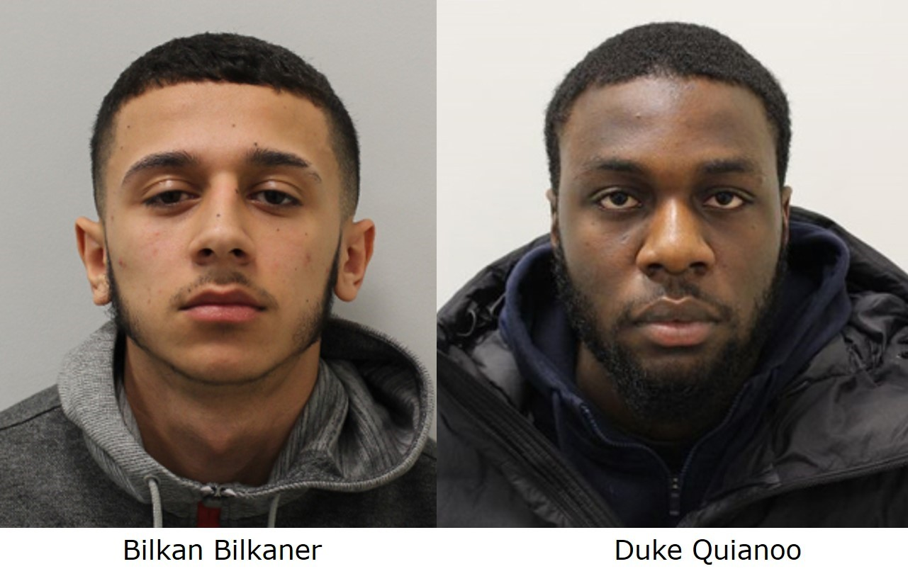 Bilkan Bilkaner (left) and Duke Quianoo have been jailed for the murder of Russell Jordan Jones. Picture: Met Police