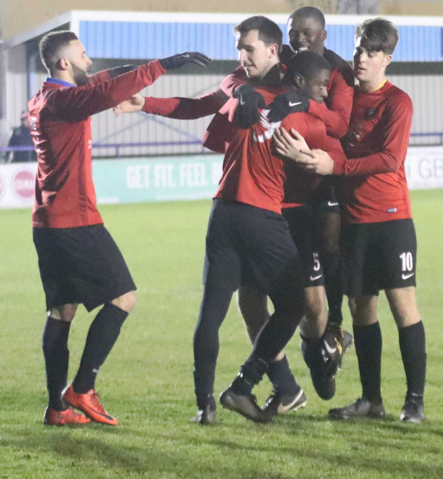 Borough celebrate scoring in their cup win against Bovingdon.