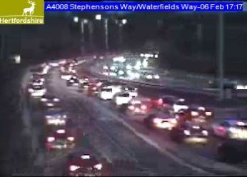 Queues in Waterfields Way out of Watford. Picture: Herts Highways