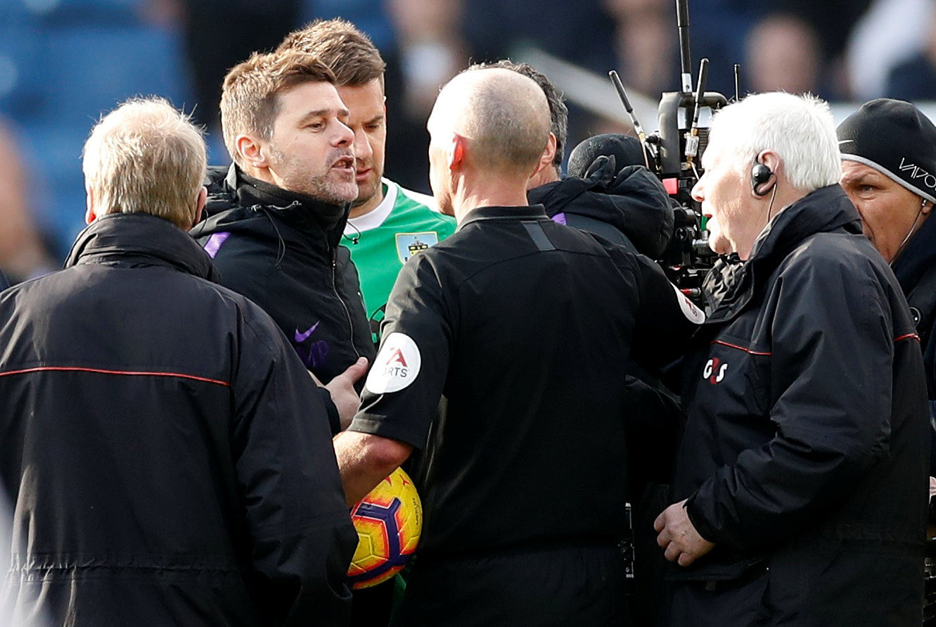 Mauricio Pochettino clashed with Mike Dean following Tottenham's defeat at Burnley. Picture: Action Images