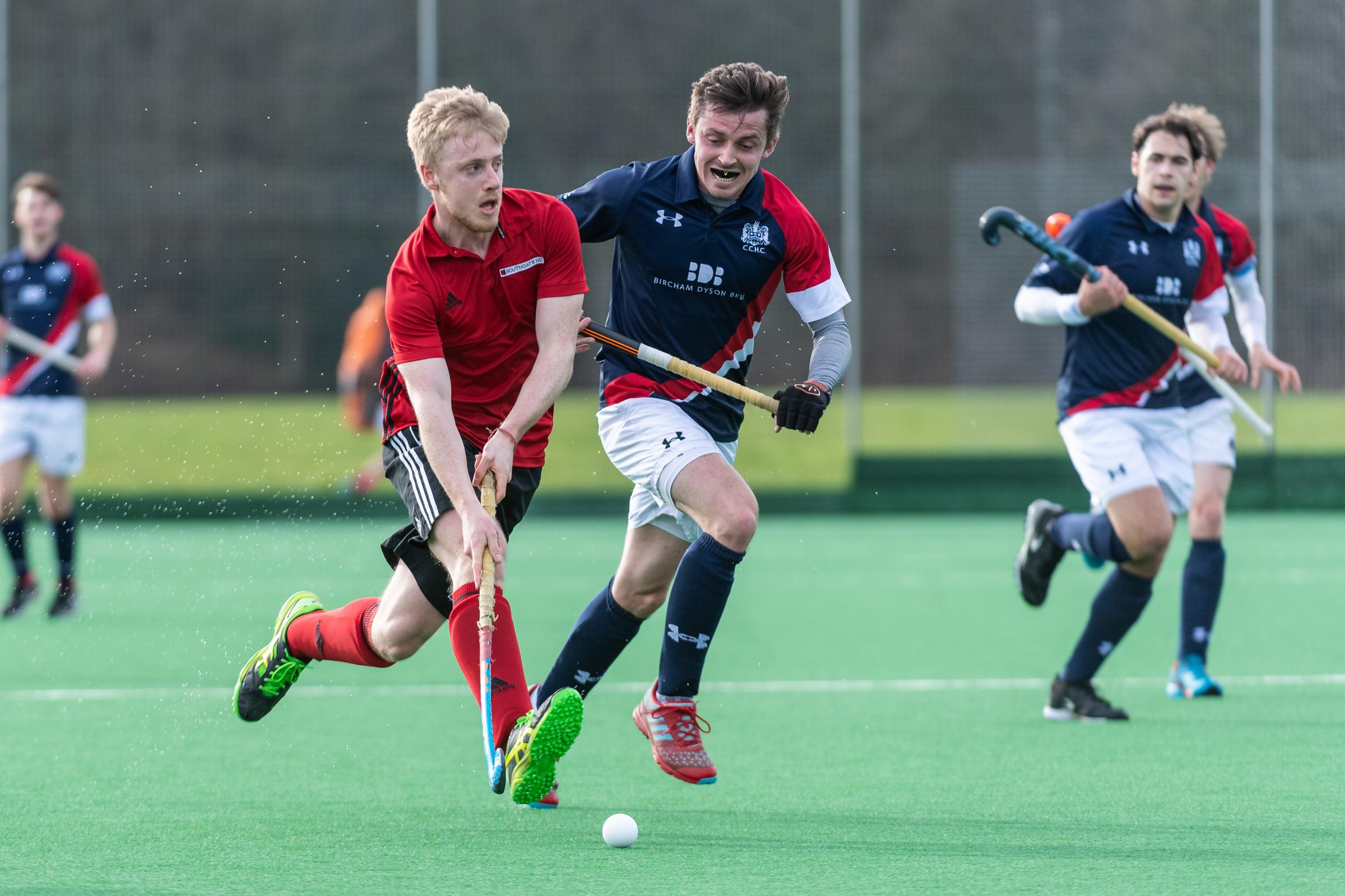 Southgate's Matt Allister on the ball. Southgate v Cambridge City - Men's Hockey League East Conference, Trent Park, London, UK on 02 March 2019. Picture: Simon Parker