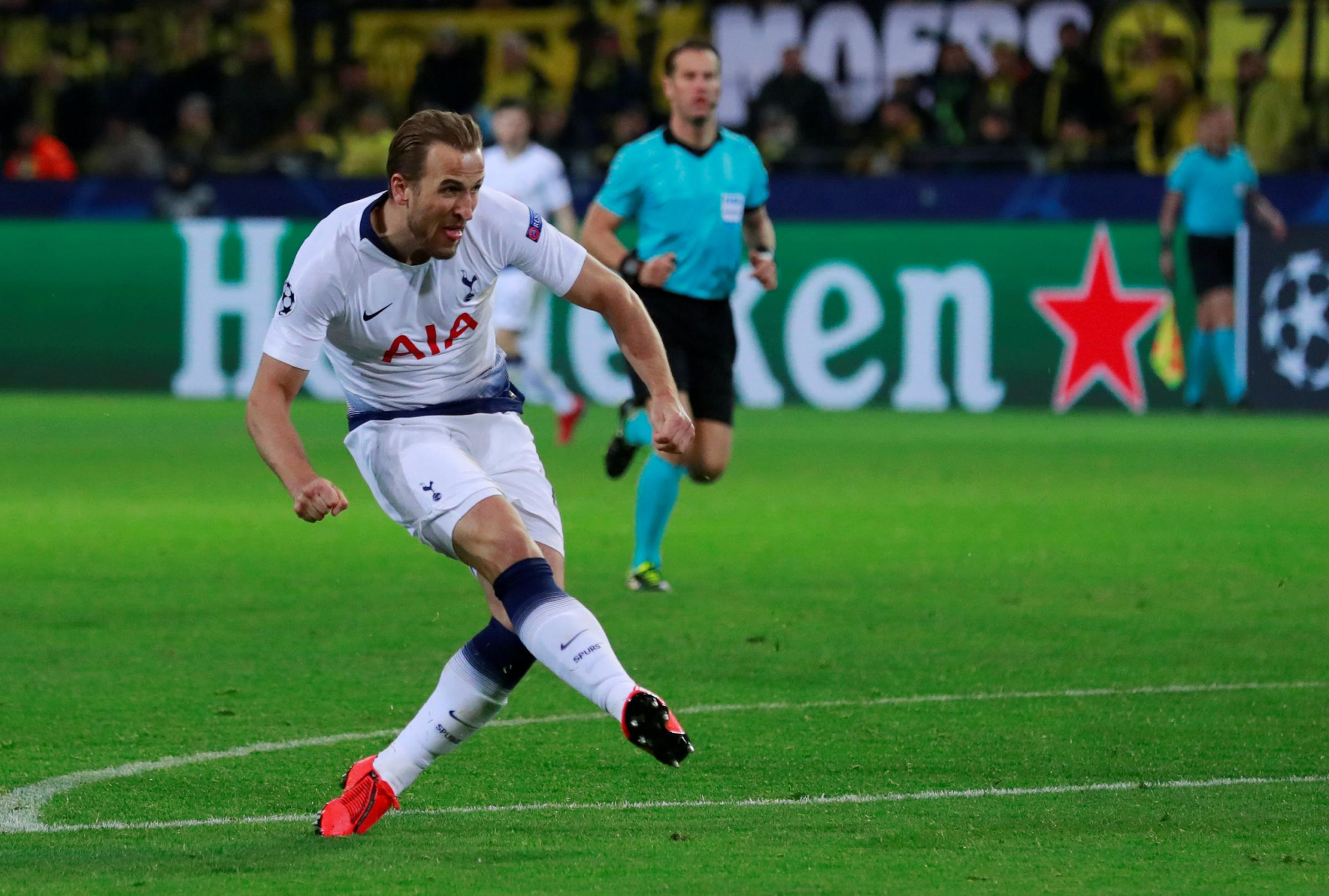 Harry Kane scores Spurs' winner last night. Picture: Action Images