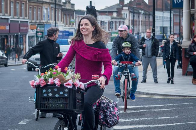 Clare Rogers using the A105 cycle lanes (Photo: Phil Rogers)