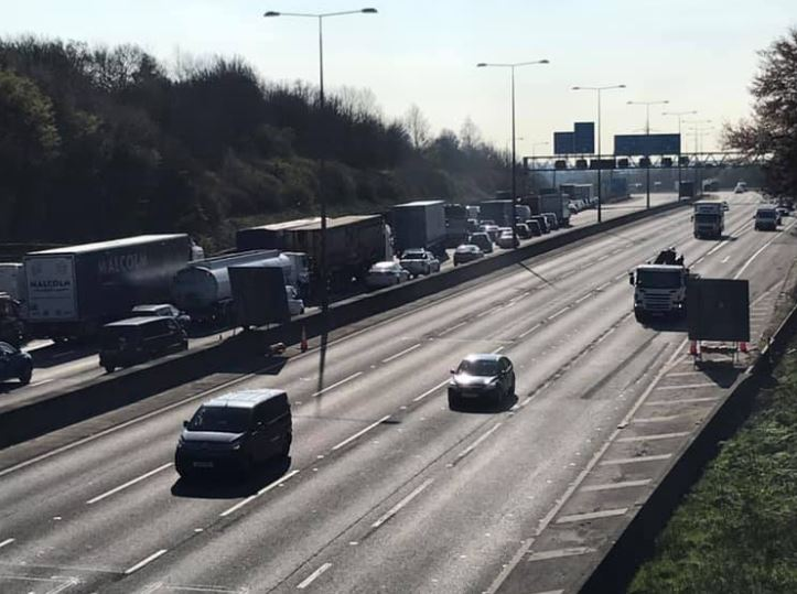 Traffic leaving the M25 at j23 earlier today.