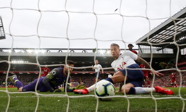 Own goal agony: Toby Alderweireld puts through his own net to hand Liverpool victory. Picture: Action Images