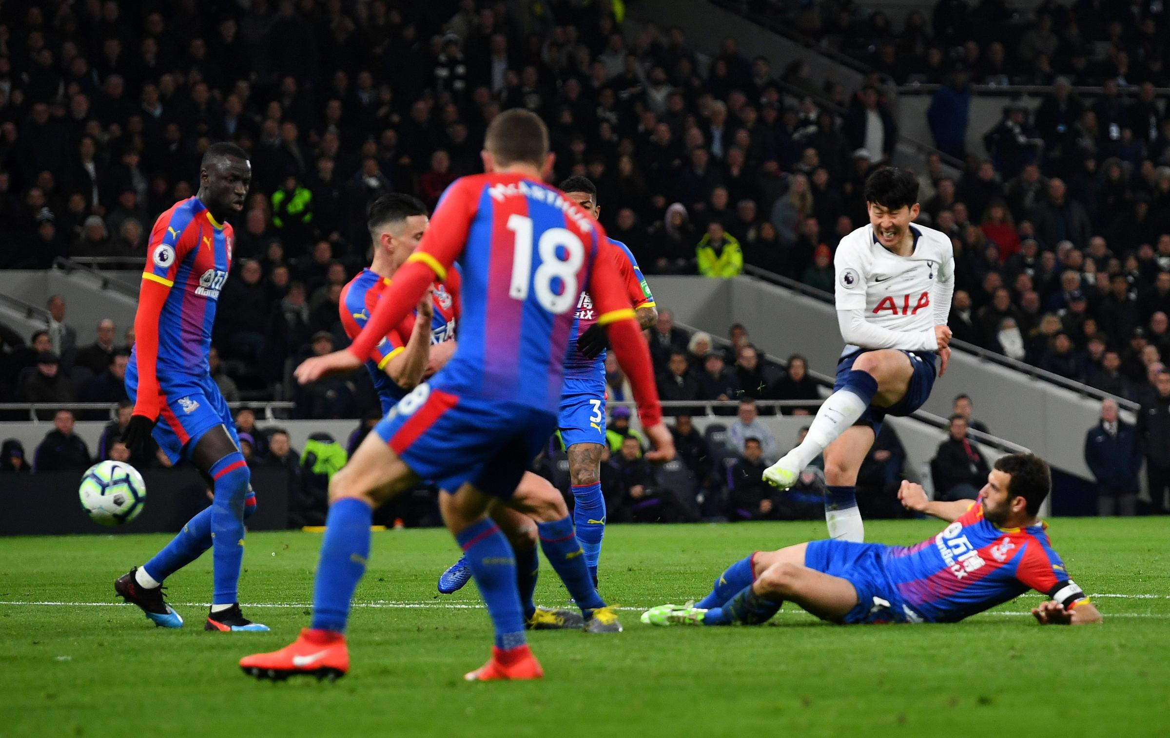 Son Hueng-min creates his own piece of history by scoring the first goal at Spurs' new home. Picture: Action Images
