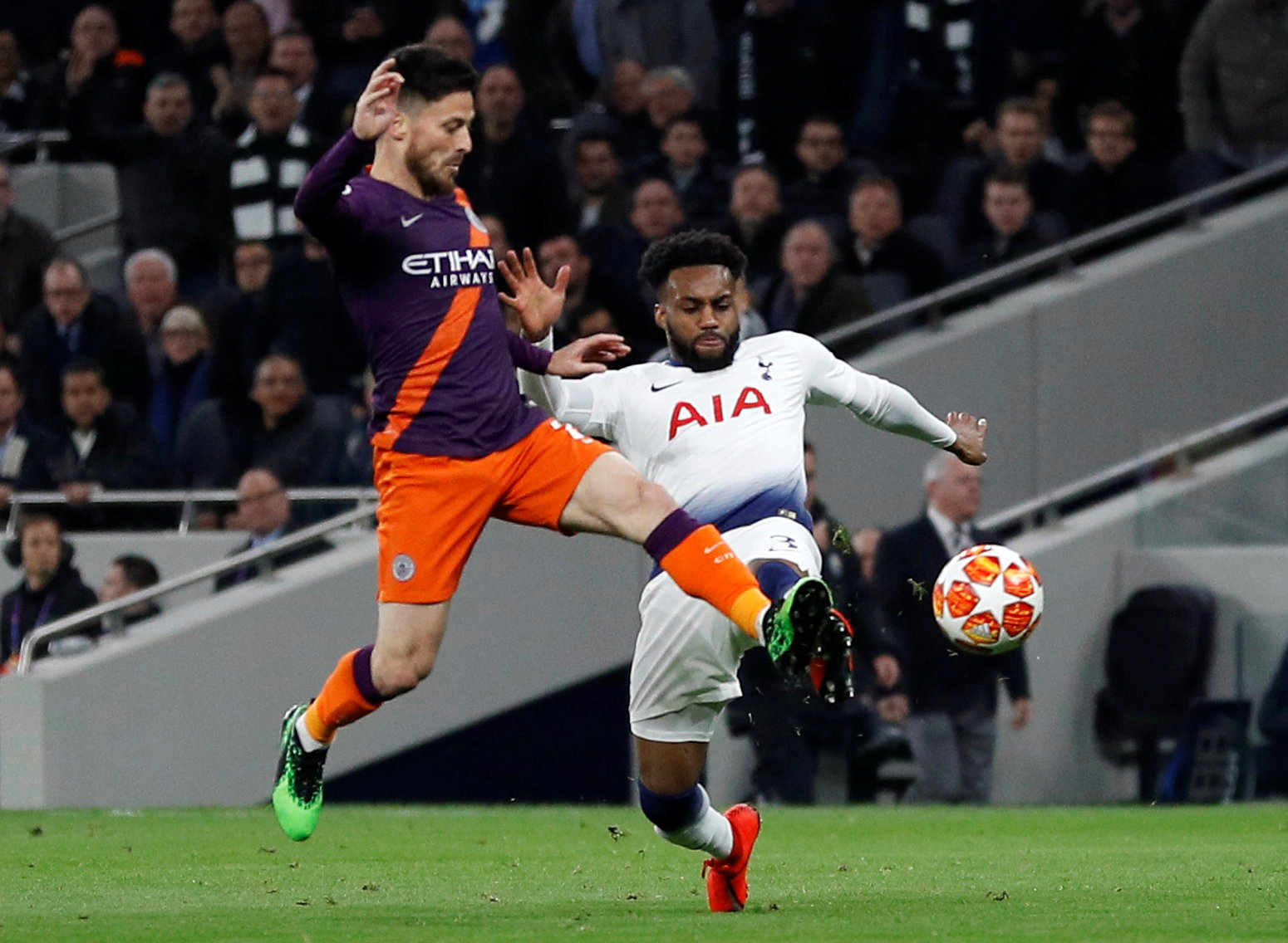 Danny Rose challenges David Sliva during Spurs' Champions League victory over Manchester City. Picture: Action Images