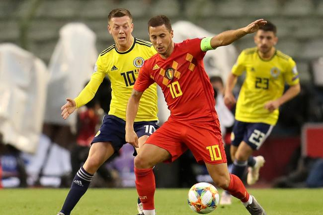 Scotland's Callum McGregor (left) was given the run around by Belgium star Eden Hazard as he played out his 69th game of the season